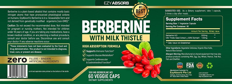 EzyAbsorb Berberine with Milk Thistle Supplement Facts