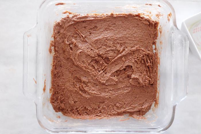 cake batter mixed in baking dish