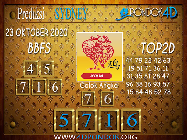 Prediksi Togel SYDNEY PONDOK4D 23 OKTOBER 2020