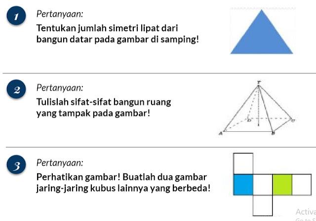 Soal Matematika Kelas 4-5-6 SD-MI Tentang Simetri Lipat dan Sifat-Sifat Bangun Ruang