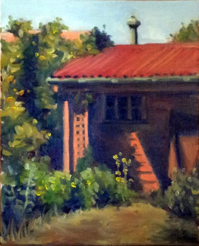 Oil painting of an apricot-coloured building with a red-roofed verandah, surrounded by shrubs and creepers.