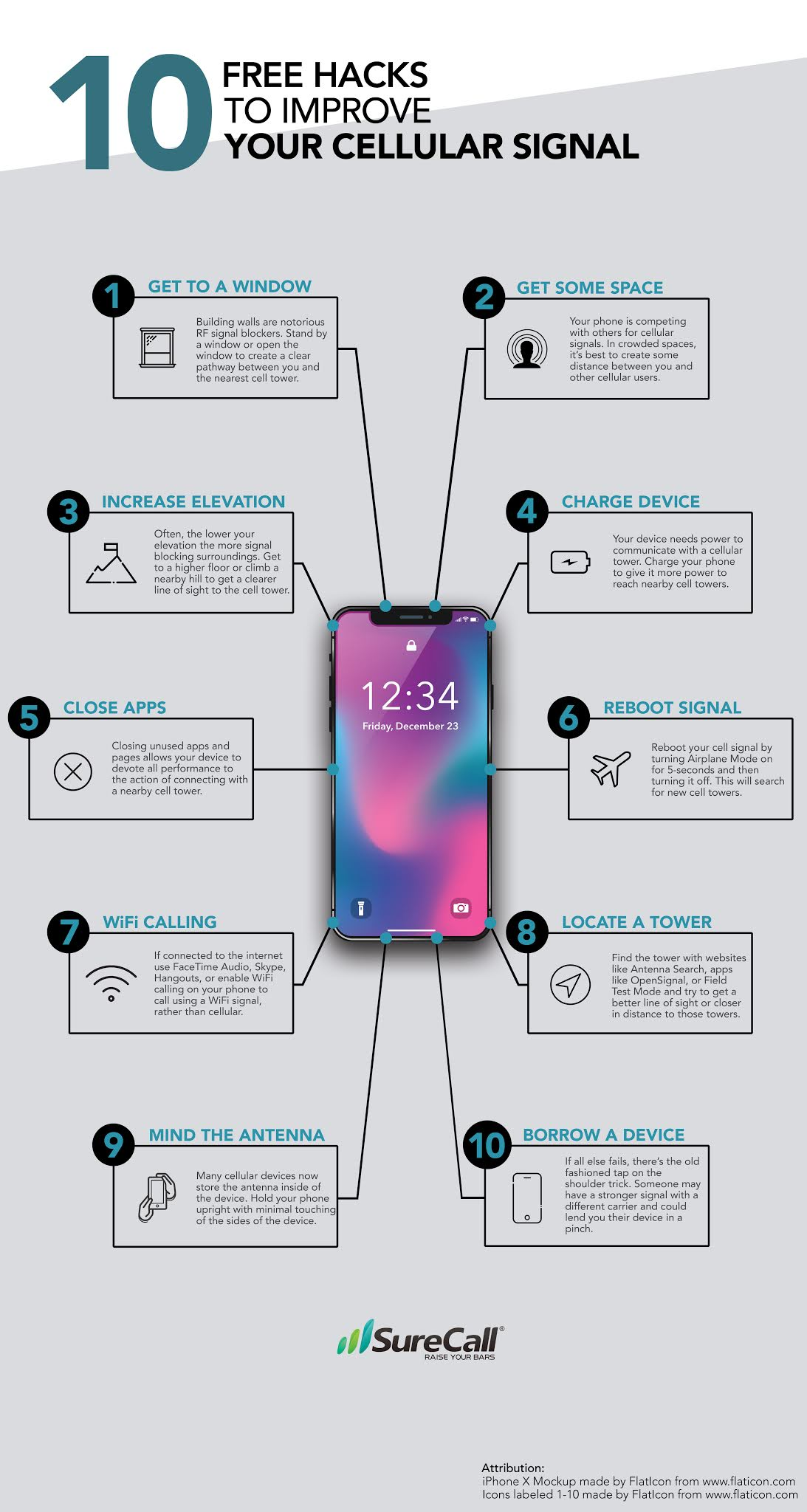 10 Free Hacks to Improve Your Cellular Signal #infographic#Cellular Signal #infographics #Signal Booster #Network Signal #WiFi Network