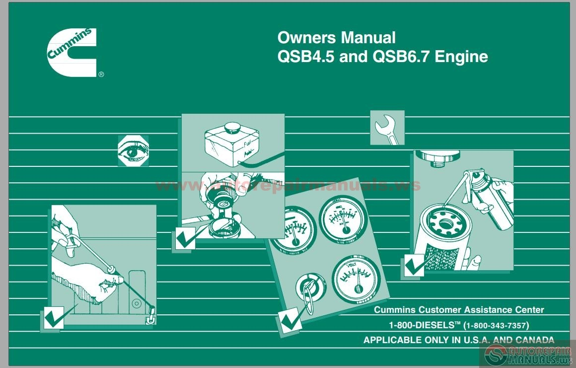 Section L – Service Literature Section M Component Manufactures Section S –  Service Assistance Section ES – Engine Storage