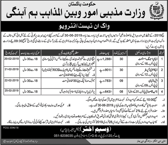 Jobs Vacancies In Ministry Of Religious Affairs Govt Of Pakistan 07 February 2019