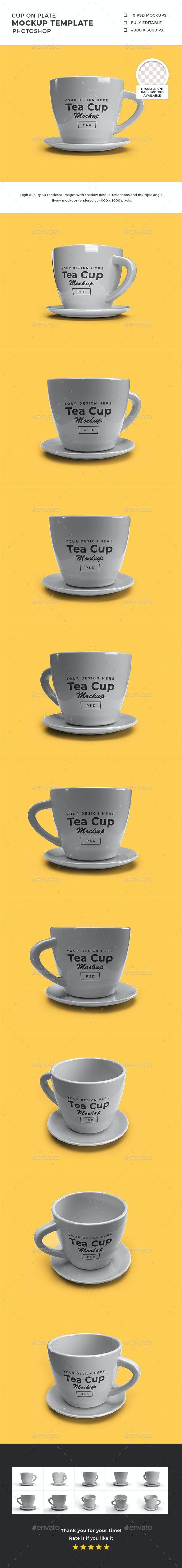 Tea Cup on Plate 3D Mockup Template