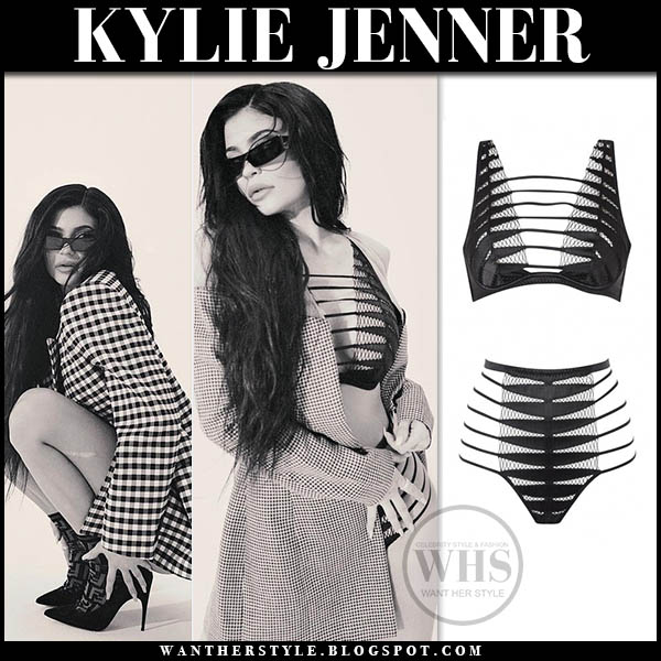 Kylie Jenner in plaid blazer and black strappy lingerie agent provocateur celebrity style january 22