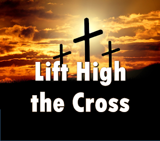 Lift high the cross:   Chorus:  Lift high the cross, the love of Christ proclaim  till all the world adore his sacred name.  1 Come, Christians, follow where our Savior trod, the Lamb victorious, Christ, the Son of God.  2. Led on their way by this triumphant sign,  The hosts of God in conquering ranks combine.  3. Each newborn servant of the Crucified Bears on the brow the seal of Him Who died.  4. This is the sign which Satan's legions fear And angels veil their faces to revere.  5. Saved by this Cross whereon their Lord was slain, The sons of Adam their lost home regain. 6. From north and south, from east and west they raise In growing unison their songs of praise.  7. O Lord, once lifted on the glorious tree,  As thou hast promised, draw the world to thee.  8. So shall our song of triumph ever be:  Praise to the Crucified for victory. 9. Let every race and every language tell  Of him who saves our souls from death and hell.   10.From farthest regions let their homage bring,  And on his Cross adore their Saviour King. 11.Set up thy throne, that earth's despair may cease Beneath the shadow of its healing peace.   12.For thy blest Cross which doth for all atone Creation's praises rise before thy throne.