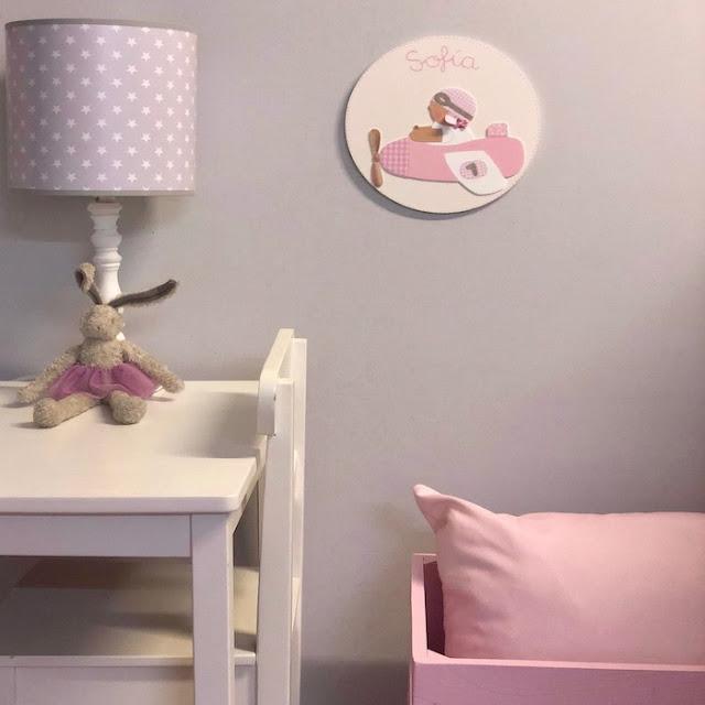 placa puerta infantil personalizada aviadora rosa