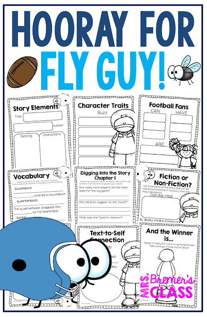 Hooray for Fly Guy book study companion activities to go with the book by Tedd Arnold. Perfect for whole class guided reading, small groups, or individual study packs. Packed with lots of fun literacy ideas and guided reading activities. Common Core aligned. K-2 #bookstudies #bookstudy #novelstudy #1stgrade #2ndgrade #literacy #guidedreading #flyguy