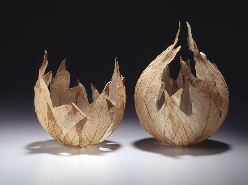 Delicados Cuencos Hoja hecho de esqueletos de hoja