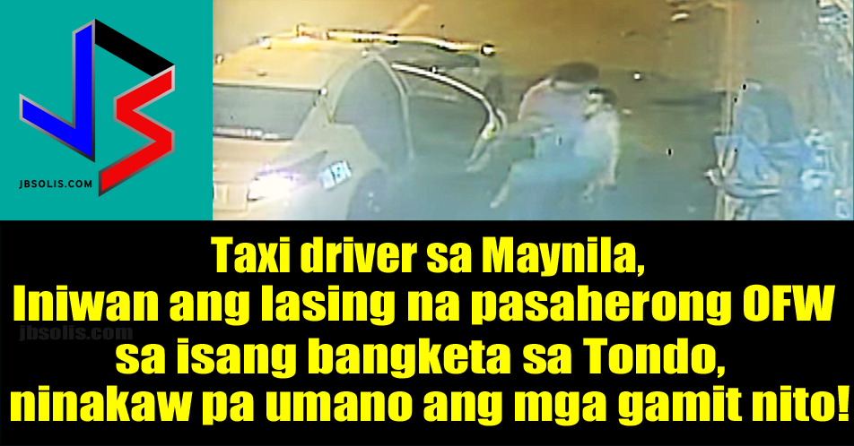 An OFW was allegedly robbed by the person whom he has entrusted his safe travel. The unnamed victim was a seaman, who took a taxi cab en route to the Manila North Harbor Pier, located in Tondo, Manila.  A blurry CCTV video (shown above) caught the incident that happened around 2AM last Saturday, September 9.  OFW NEWS: No more Ban: UAE Will Hire New Domestic Helpers From the Philippines!  In the video, the taxi is seen pulling over the road side. The driver went out of the taxi and went to the passenger side. He then pulls the unconscious passenger out of the taxi and left him on the curb.  A witness was quoted as saying the place is notorious because of criminals leaving dead victims in the area.  The OFW managed to go home the next day. His family was shocked to learn that he lost everything he had with him. He said he was robbed. Among the items taken was a brand new and expensive cellphone. Good thing, the family was able to get the description and license plate of the taxi (shown below).  The taxi name is JEMAC with body number 1334. The license plate number is AAY 2504.  The family admitted that the OFW Seaman came from a reunion and had several drinks. But they insist that he was not very drunk at that time and was actually very coherent. Another witness said it is possible that the victim inhaled some gas that was released purposely by the driver. This apparently caused him to fall asleep.  The local police is already in on the case. They are currently looking for the alleged taxi driver/robber. They are sternly advising the taxi driver that it is better to surrender. The driver is facing charges of qualified theft.  In situations like this, taxi drivers should assist drunk passengers, by either bringing them to the nearest police station or barangay hall.  source: ABS CBN