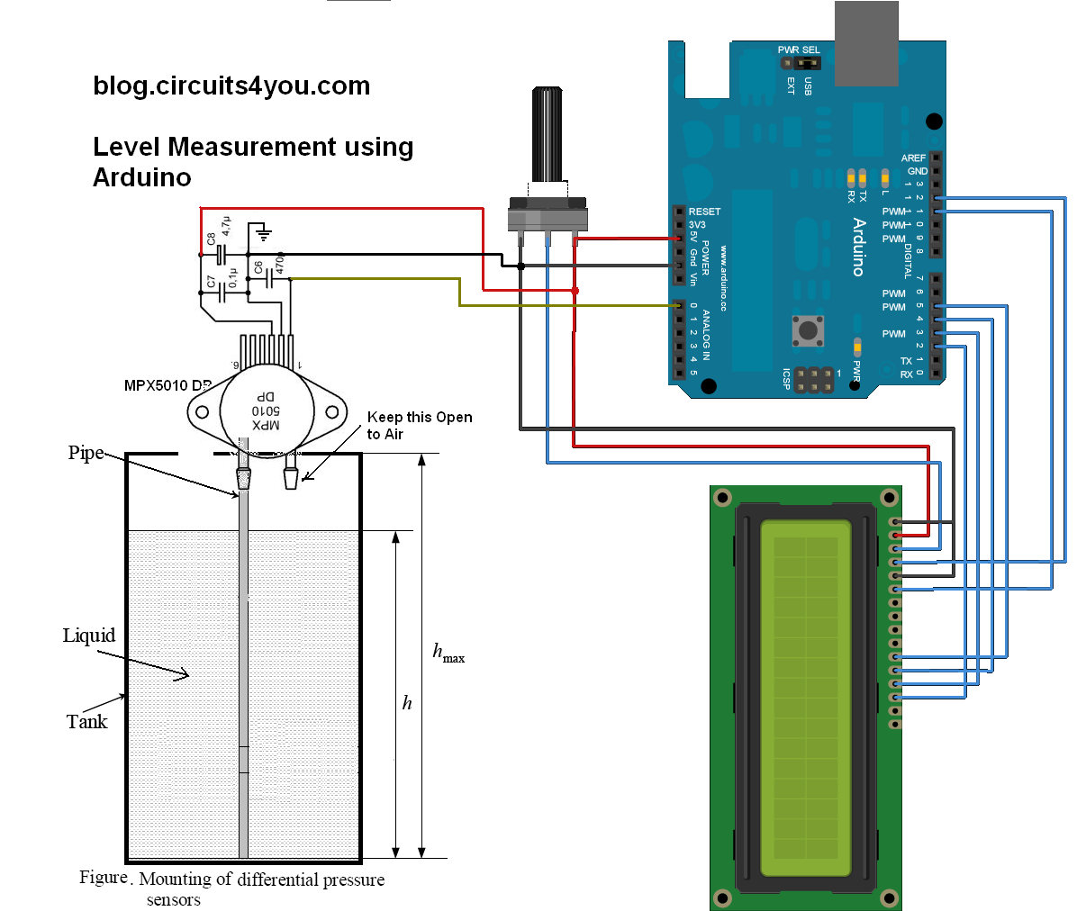 Water Level Indicator Project With Circuit Diagram Hunter Fans Low Cost Continuous Pricision Liquid Measurement