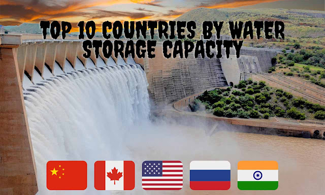 Top 10 countries by their total water storage capacity