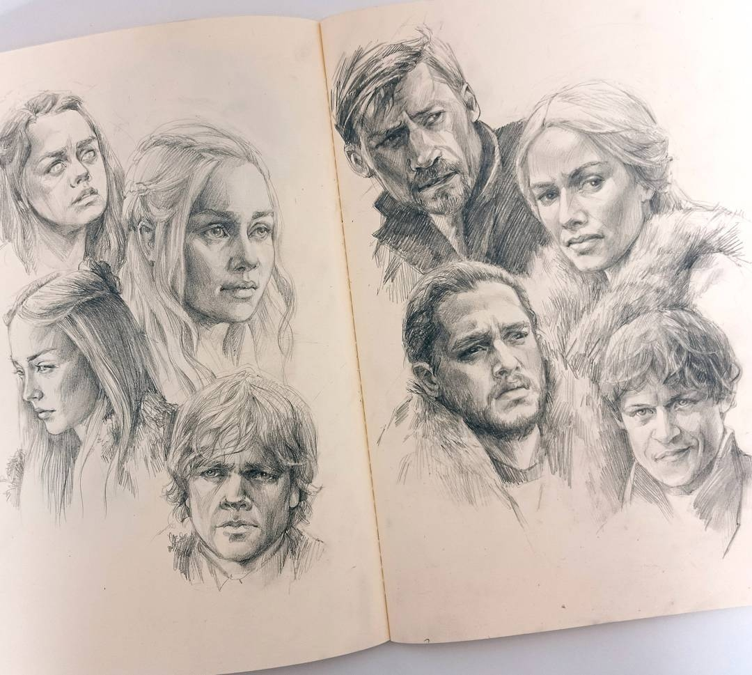 04-Game-of-Thrones-GoT-Polina-Ishkhanova-Полина-Ишханова-Portrait-Drawings-and-one-Celebrity-Group-www-designstack-co