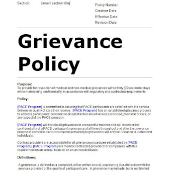 Grievance Policy Sample Template Editable Doc  Basic Contract Outline