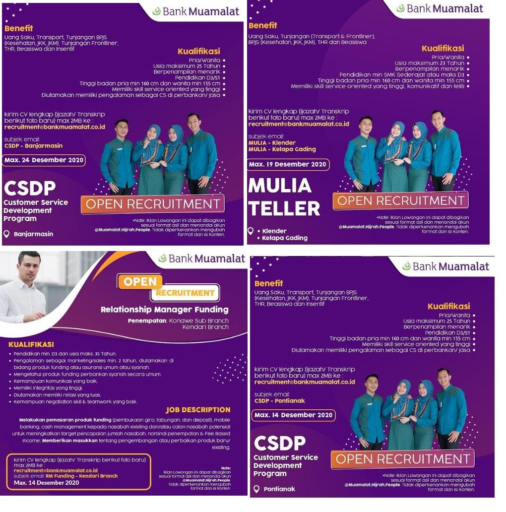 Lowongan Kerja Bank Muamalat Tingkat SMK D3 S1 Desember 2020