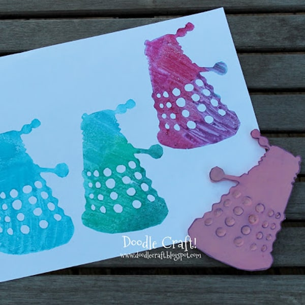 Carve a dalek out of rubber to make a red rubber stamp for card making.