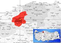 Karabük merkez ilçesinin nerede olduğunu gösteren harita