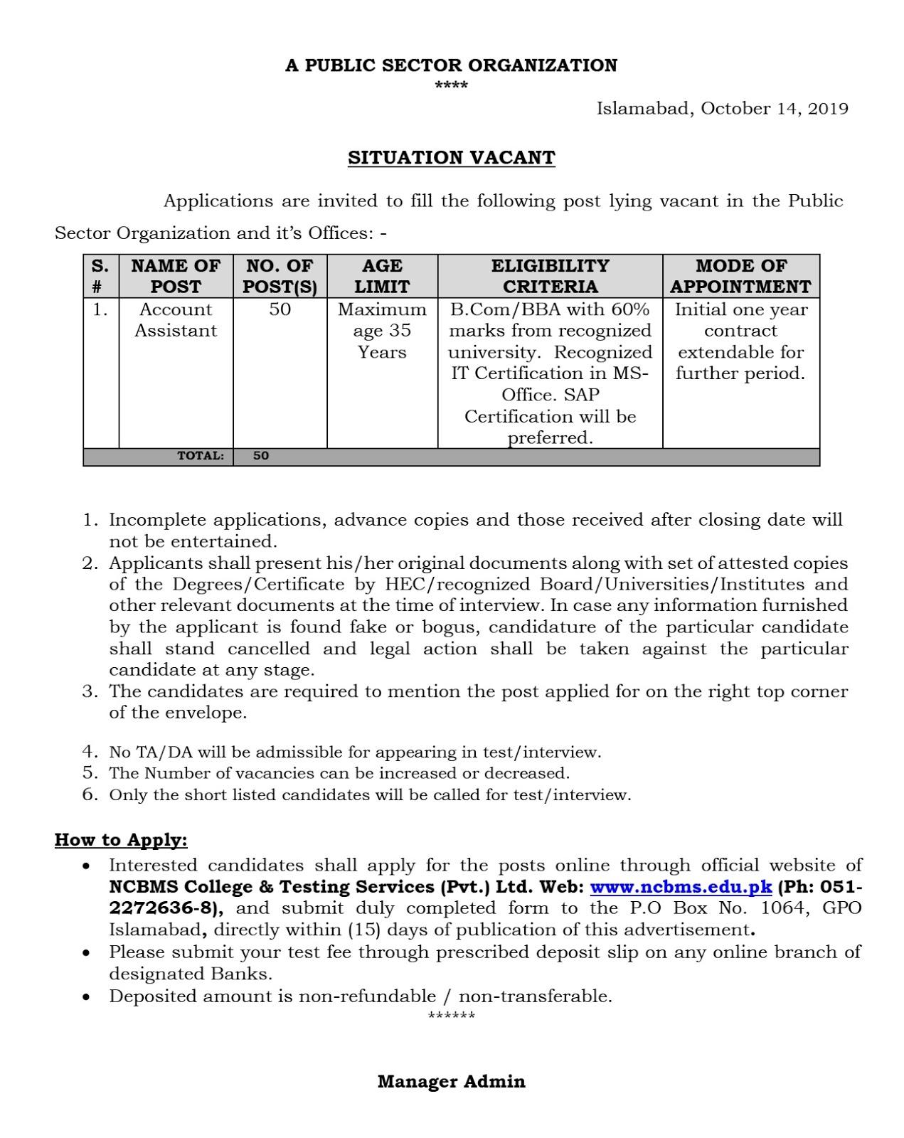 A PUBLIC SECTOR ORGANIZATION Jobs 2019 Account Assistant