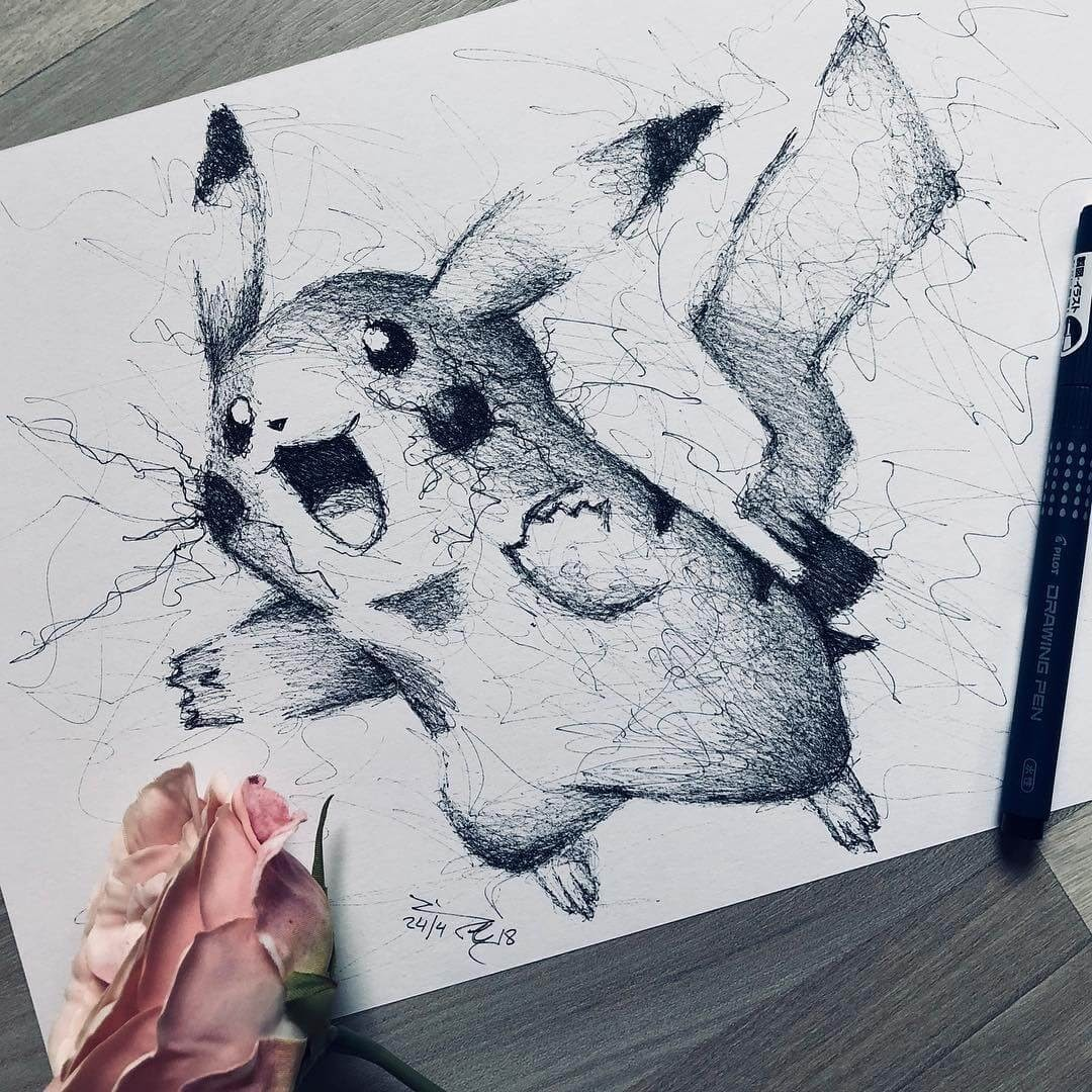 04-Pokemon-Pikachu-Jimmy-Mätlik-Fantasy-Animal-drawings-form-the-Movies-www-designstack-co
