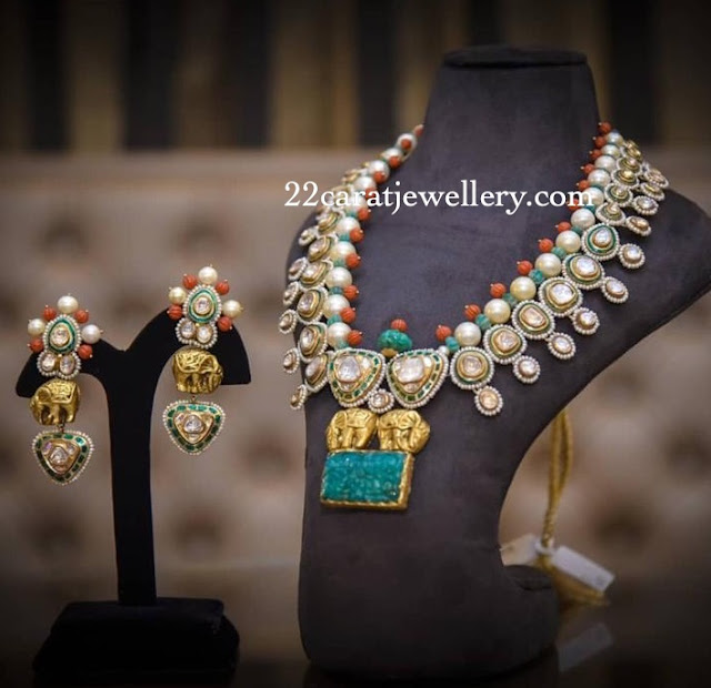 Polki Diamond Coral Necklace