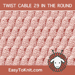 Right Diagonal Twist Cable, easy to knit in the round