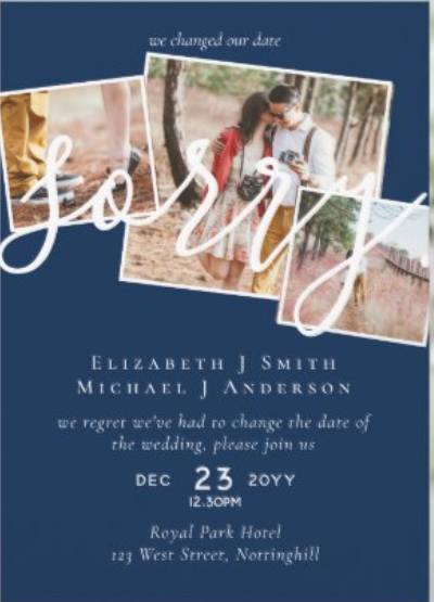 sorry change of plans wedding card