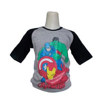 Kaos Raglan Anak Karakter The Avengers Abu-Abu