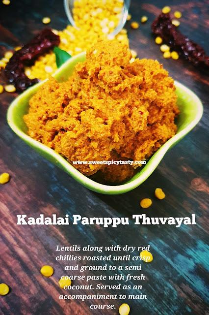 Kadalai Paruppu thogayal is an exotic recipe from Tamil Nadu. A dip made by roasting and grindimg the lentils ,spices to serve as an accompaniment. Kadalai Parippu thogayal, split chick peas dip , how to make thohayal at home , paruppu thohayal, paruppu thuvayal , kadala paruppu thogayal
