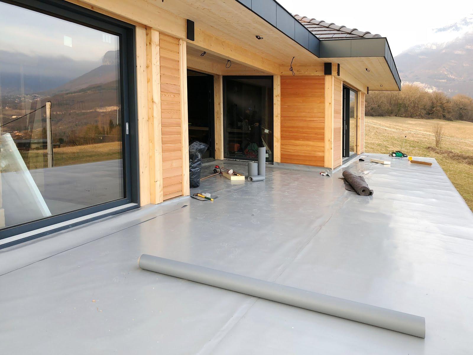 Recouvrir Du Lambris Bois construction maison ossature bois poteaux-poutres en savoie