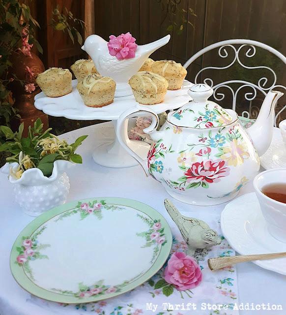 Roses and honeysuckle garden tea party