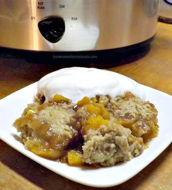 Crockpot Peach Cobbler: Home Sweet Homestead
