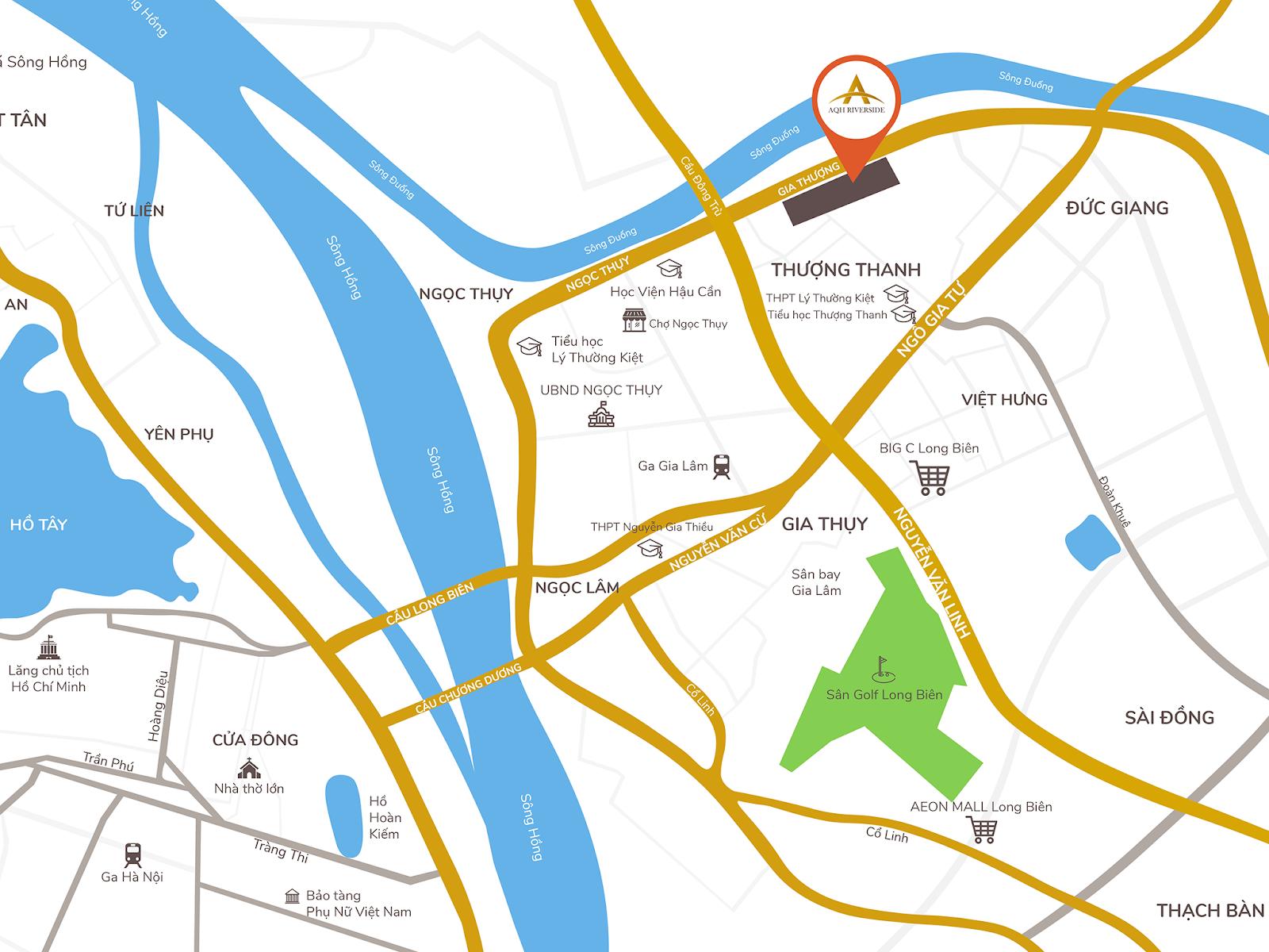 AQH Riverside nằm ở vị trí vàng của quận Long Biên.