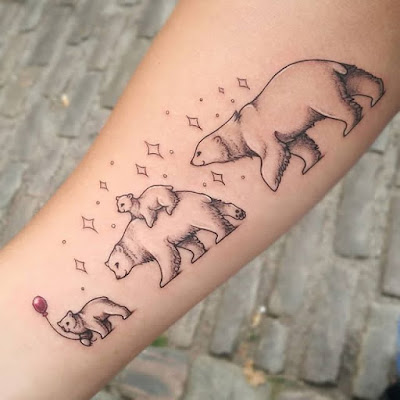 polar bear family tattoo
