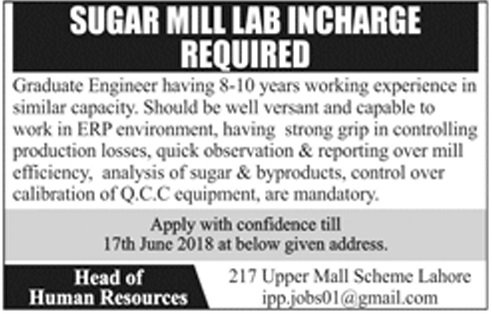 Private Jobs in Lahore in a Sugar Mill Apply via Email