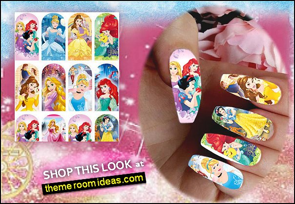 Disney princess Ariel Snow White Rapunzel Cinderella design Nail stickers watersliders