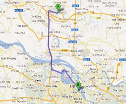 Percorso da Hanoi aeroporto dal centro città