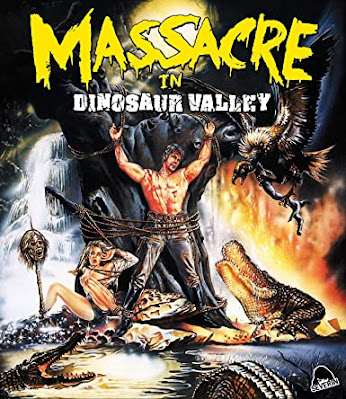 The cover art for Severin Films' Blu-ray of MASSACRE IN DINOSAUR VALLEY!