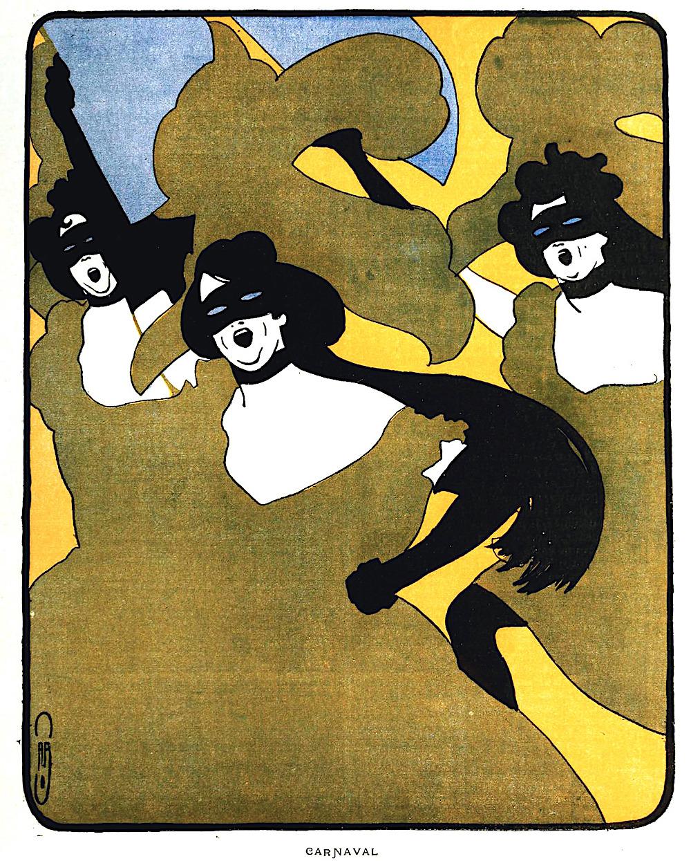 a Auguste Jean-Baptiste Roubille color illistration for 1900 Carnaval, masked dancing women