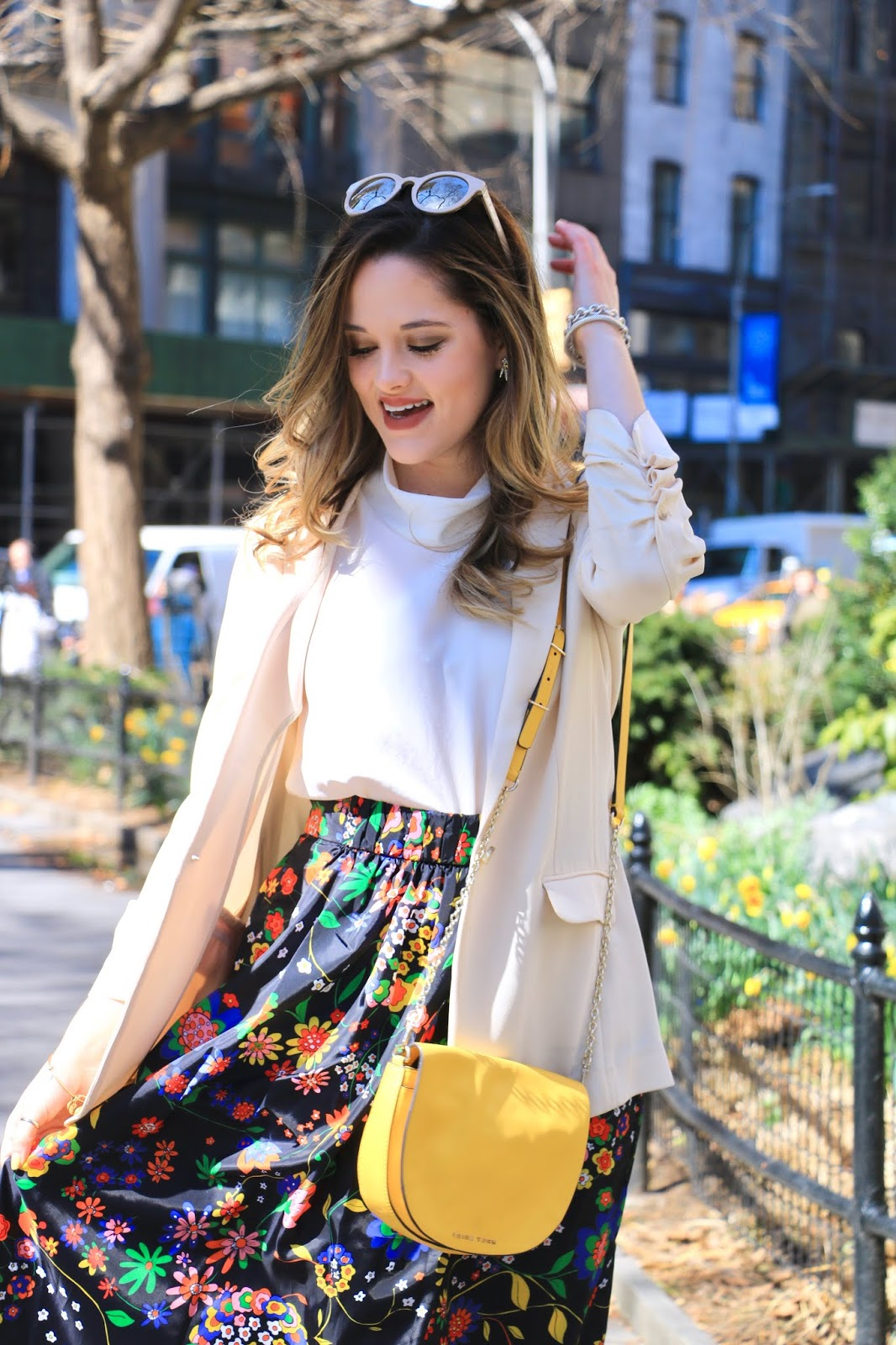 Nyc fashion blogger Kathleen Harper wearing a Tibi floral midi skirt