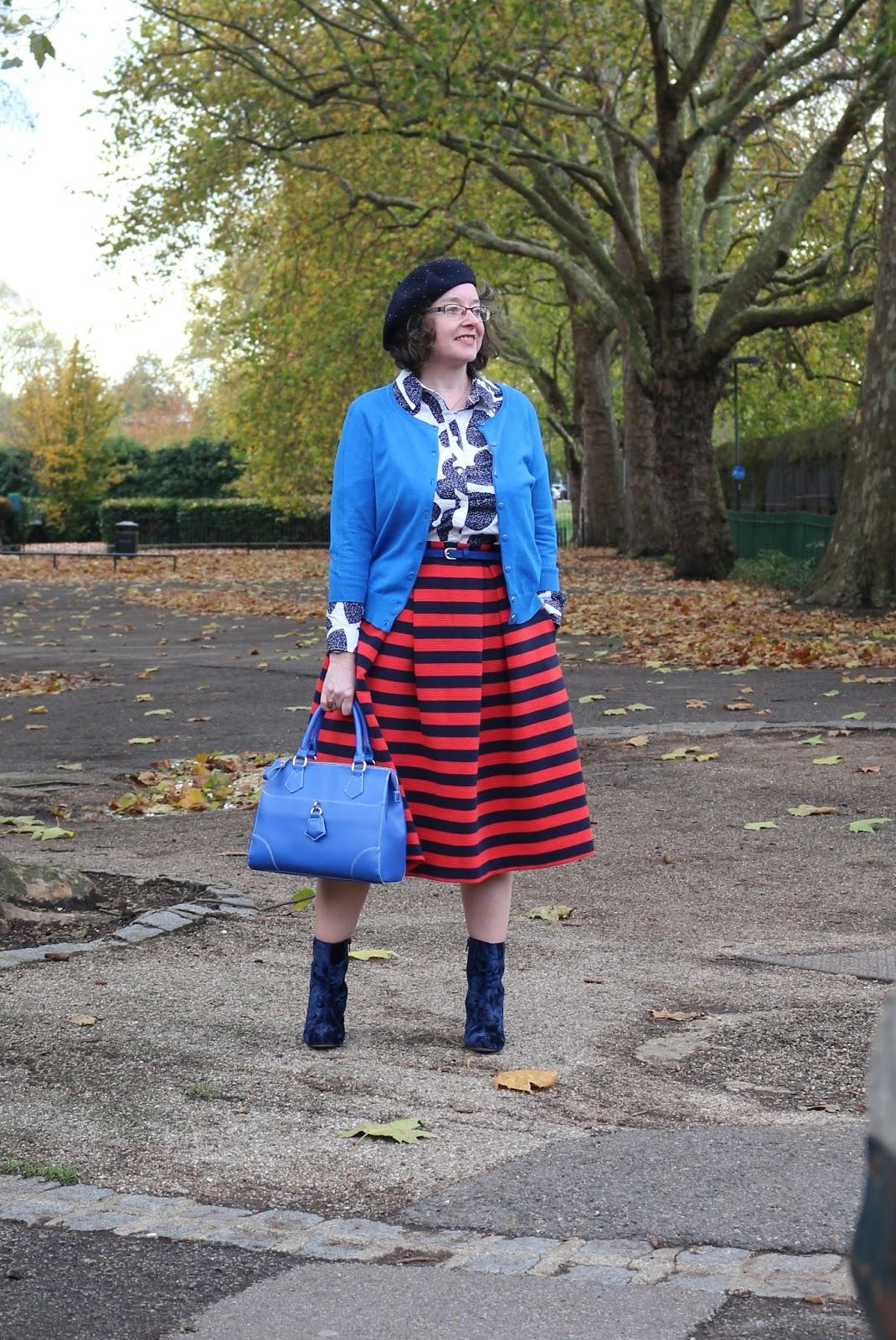 Patterning Mixing a Midi Skirt | Boden Maggie Ottoman Skirt, Boden Shirt, Velvet Boots