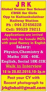 J R kK Global Senior Sec. School Conducting Walk-in for PGT Teachers