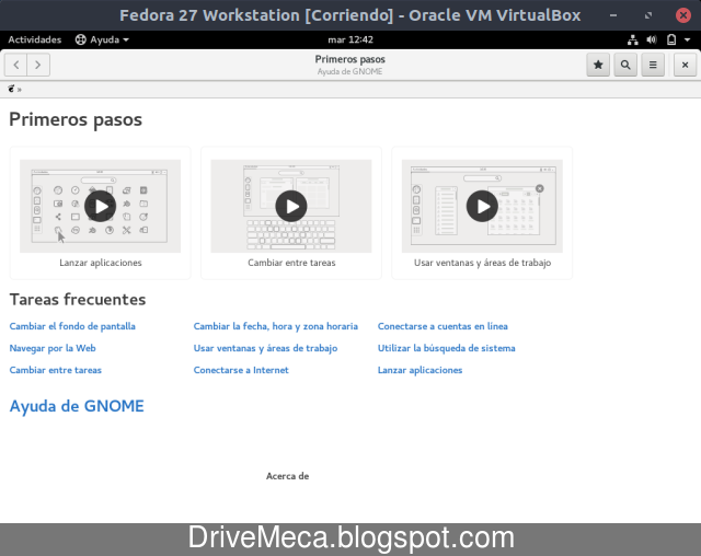 Cerramos la ventana primeros pasos de Fedora Linux