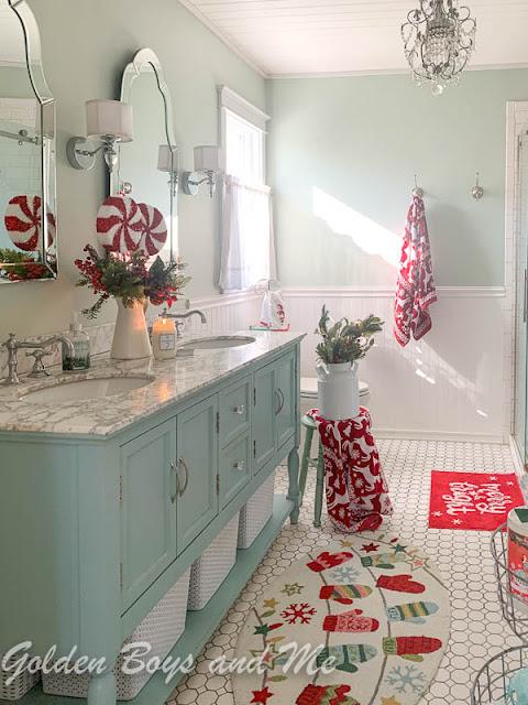 Master Bathroom with Christmas decor - www.goldenboysandme.com