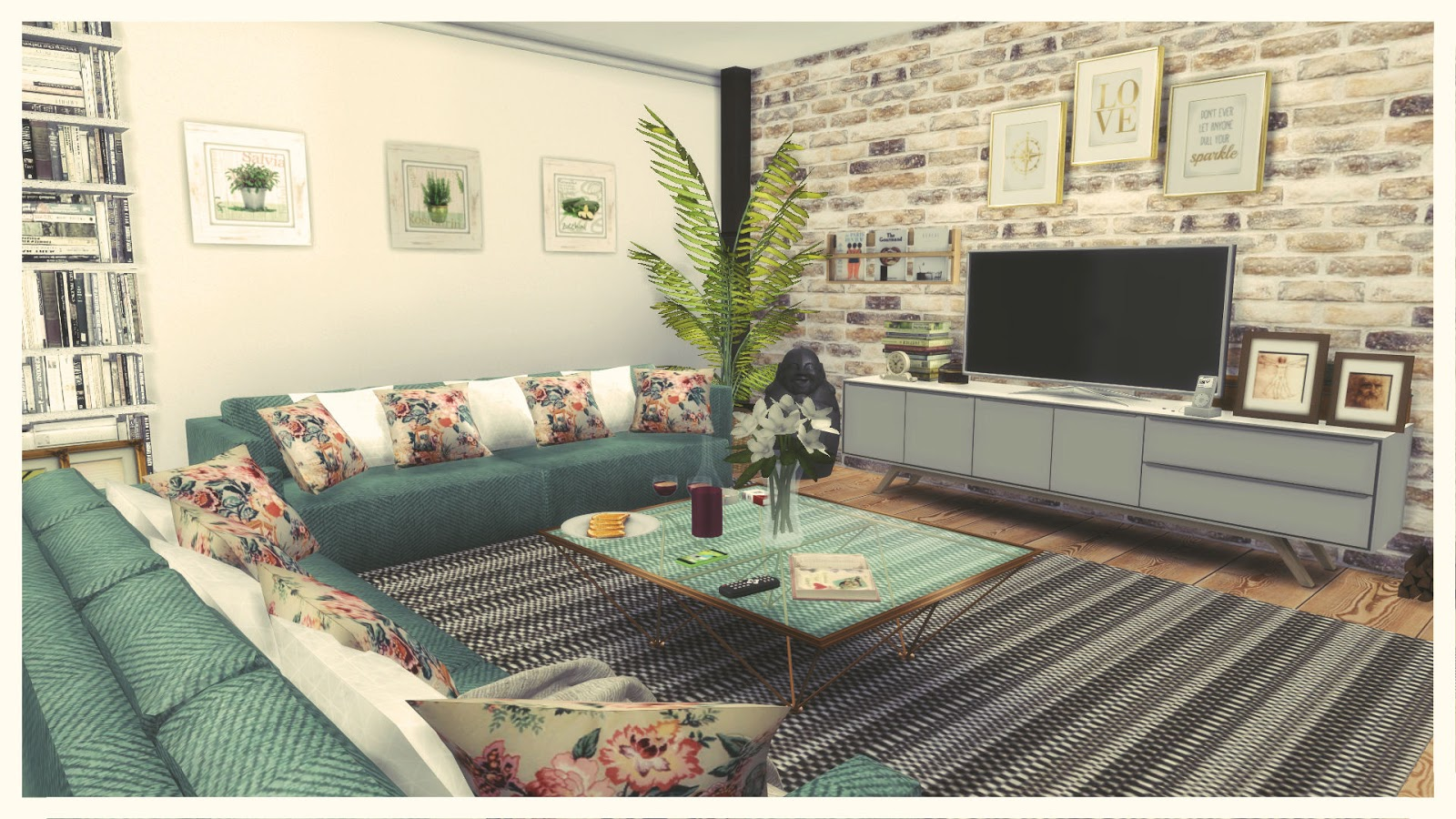 Sims 4 gray green living room dinha for Greenliving com