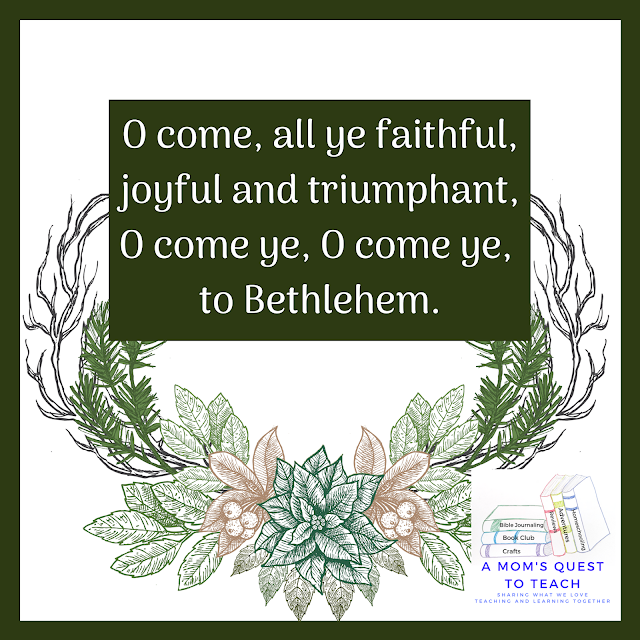Text: O come all ye faithful, joyful and triumphant, O Come ye to Bethlehem; background of poinsettia clipart