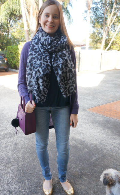 Blue leopard print scarf navy tank skinny jeans with purple cardigan and mini MAB tote bag | Away From Blue