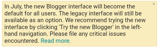 Alert message about new blogger interface