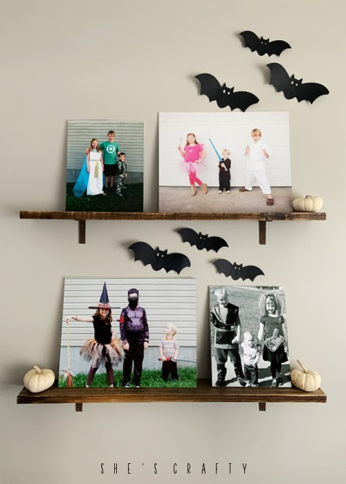 Halloween Home Decor - picture ledge shelves with Halloween family pics