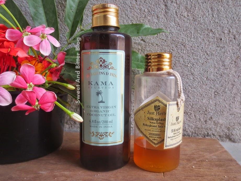 Kama Ayurveda Extra Virgin Organic Coconut Oil and Just Herbs Silkplash